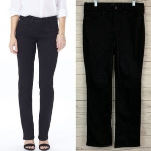 NYDJ marilyn straight leg black stretch jeans NEW